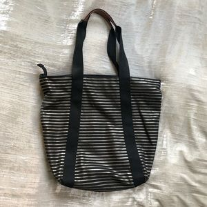 Gold and black stripe zippered  tote bag